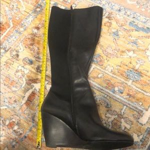8M black Nine West tall wedge boots